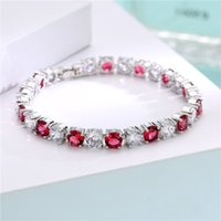 Wholesale Shiny Black Stone - Round Shape AAA Cubic Zirconia Stone Crystal Diamond Bracelet Shiny And Glowing Luxury Bracelet For Women 022-BR0183