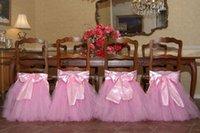 sandalye dekorasyonları için tüller toptan satış-Custom Made 2017 Saten Tül Tutu Sandalye Kapakları Vintage Romantik Sandalye Sashes Güzel Moda Düğün Süslemeleri