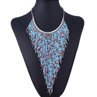 Bohemia Jewelry Resina Turquoise Beads Long Tassels Colar para mulheres Vintage Boho Statement Long Pendant Bib Necklace Collar Wholesale