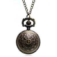 Wholesale Vintage Bell Watch - Wholesale-Fashion Vintage Bell Shape Quartz Fob Pocket Watch With Necklace Chain Gift Free Drop Shipping