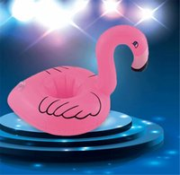 Wholesale Cute Pink Swim - PVC Inflatable Mini Cute Flamingo Drink Can Cup Holder Floating Swimming Pool Bathing Beach Party Kids Toy Bath Outdoor Mini Toys