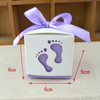 Wholesale Paper Cut Outs - 100pcs Baby Footprint Laser Cut Out Candy Box Baby Shower Favors Gift Paper Boxes Kids Birthday Party Supplies