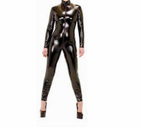 traje de látex de cuerpo completo al por mayor-Dominatrix Disfraz de Cuero Femenino Lencería Sexy de Cuerpo Completo Con Cremallera Cosplay Clubwear Mujeres Vestido de Entrepierna PVC Look B0402019