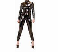 traje de látex de corpo inteiro venda por atacado-Dominatrix Feminino Traje De Couro Sexy Lingerie de Corpo Inteiro Com Zíper Mulheres Cosplay Clubwear Fancy Dress Crotchless PVC Olhar B0402019