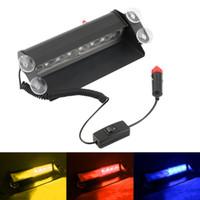 luces de advertencia policiales al por mayor-8 LED Rojo / Azul / Amarillo Car Police Strobe Flash Dash Emergency Warning 3 Luces antiniebla intermitentes