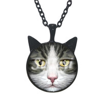 Pendant Necklaces black cat chat - 2016 New fashion Black Cat Ear Pendant Necklace Cat Chat Jewelry Gifts For Girls Glass art Photo statement Necklace