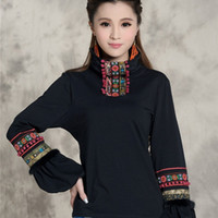 Turtleneck original lantern - Autumn winter original vintage design pullover women s ethnic embroidered turtleneck t shirt L XL black t shirt top blusa