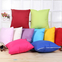 Wholesale Covers For Sofas - 45*45cm Fabric Pillow Case Solid Color Cushion 10 Colors Fashion Pillow Cover for Sofa Bed Car Office