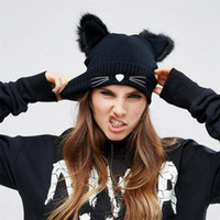 Wholesale Black Cat Ear Wool Hat - New Women's Winter Two Fur Cat Ears Knitting Warm Wool Hat Fashion Cute Braided Skullies Hat Women Crochet Ski Fur Cap