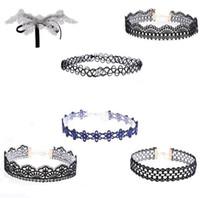 Wholesale Pcs Value - 2017 wholesale necklace vintage lace statement black retro pattern choker 6 pc value pack Gothic lace choker