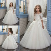Wholesale Shorter Wedding Dresses For Boat - Elegant Ivory Half Sleeve Boat Neckline Holy First Communion Dresses for Girls Appliques Tulle Girls Pageant Wedding Flower Girl Dresses