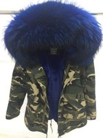 Wholesale Ladies Hooded Military - Mrs furs Camouflage military Jacket Ladies short furs parkas hooded with large raccoon fur collar Velvet Liner Detachable