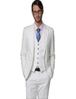 ingrosso vestiti di vestito da usura dello sposo del nozze bianco-Abbigliamento da uomo all'ingrosso Completo da uomo bianco Abiti da sposa bianco Pesked Risvolto Vestito Vestito Set Vestito da sposo (giacca + pantaloni + gilet)