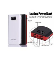 Wholesale Output Mah - Wholesale Factory Price 20000 mah 4 USB Outputs Business Style Leather Power Bank with Apple and Android Inputs