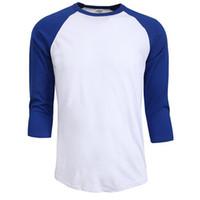 camisas de verano para hombres al por mayor-Venta caliente del verano del otoño Hombres O-cuello 100% algodón camiseta de los hombres camiseta de manga casual raglán Jersey camisa hombre