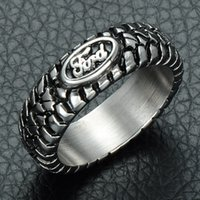 Wholesale Man Steel Cast - HIP Punk Ford Car Tire Tread Style Grooved Ring Vintage Casting Titanium Stainless Steel Rings for Men Jewelry