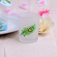 Wholesale Tealight Candle Holder Free Shipping - 100PCS Party Home Decoration Frosted-Glass Peacock Feather Tealight Candle Holder DHL Fedex Free Shipping