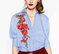 Discount embroidered blouses cotton - 2017 women elegant red flower appliques striped shirt embroidered blouse work wear office lady slim loose tops blusas