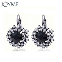 Wholesale Vintage Crystal Rhinestone Clip On Earrings For Women Fashion Accessories Silver Plated Multicolor Statement Clip Earrings