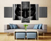 cool painted imágenes al por mayor-Hero Cool Batman Poster para la decoración del dormitorio Wall Art Work 5pcs la pintura modular de alta calidad Pictures Oil Painting sin marco