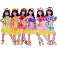 Wholesale Hawaii Beach Skirt - 7pcs set 30cm Hula Skirts Lei Headband Flower Garland Wristbands Fancy Dress Costume Set Hawaii Summer Beach Party Decor