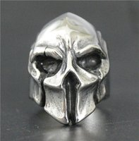 Wholesale Skeleton Helmets - 2017 New Fashion Jewelry Spartan Helmet Shield Ring 316L Stainless Steel Polishing Silver New Gift Cool Mask Warrior Ring