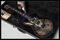 Wholesale Guitar Birds - custom 24 guitar Black flamed maple top Floyd rose bridges 6 string electric guitar Ebony fingerboard bird inlay