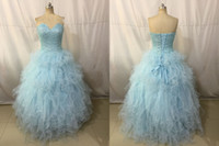 Wholesale Eveing Dress Ruffles - Light Blue Pearls Sweetheart Women's Sweet 16 Quinceanera Dresses Custom Made Beads Crystal Eveing Party Prom Catwalk Pageant Celebrity Gown