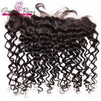 saçlı ön kapak toptan satış-Su Dalga 13 * 4 Kulak Dantel Ön Kapatma 8-26 inç Işlenmemiş Brezilyalı Virgin İnsan Saç Parça Greatremy