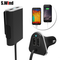 Wholesale Universal Seat Charger - Wholesale- Universal 4 Port 5V9.6A USB Car Charger for all passenger with extending USB car charging HUB for front and black seat pessenger