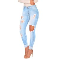 Women bleach apparel - S XL Women Jeans Spring Fashion American Apparel Vintage Mid Waist Bleached Hole Pockets Zip Washed Slim Ripped Jeans