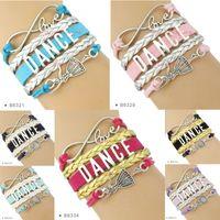 Wholesale Dance Charms Silver - (10 pieces  lot)Infinity Love Dance Bracelet Dancer Charm Bracelet Leather Wrap Custom Any Themes Drop Shipping