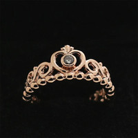 Wholesale Pandora 14k Gold Charms - 2016 New Autumn Silver Ring European Pandora Jewelry Rose Gold plated My Princess Ring with Clear Cz Fashion Charm Ring