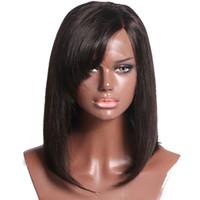 hintli dantel peruk toptan satış-Kısa Bob Dantel Ön Peruk Hint İnsan Saç patlama Ile Olmayan Remy Doğal Renk Siyah Kadınlar Için Tam Dantel 10-14 '' Peruk 130% yoğunluk