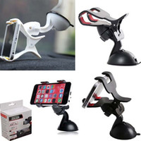 Wholesale Used Pda Phones - Quality For iPhone 7 Double Clip Car Mount, Easy-To-Use Universal 360°Rotation Windshield Phone Holder for Cell Phone Retail Package(DB)