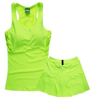Wholesale Sports Skirt Tennis - With a chest pad tennis vest suit NK female fitness skirt suit Slim sleeveless sports vest skirt