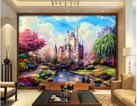 роспись для гостиной оптовых-3d комната обои пользовательские фото росписи сказка замок декорации фон декор живопись 3D настенные росписи обои для стен 3 d гостиная