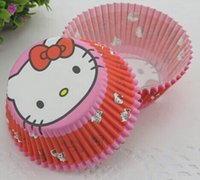 Wholesale Baby Girl Cupcake Wrappers - Wholesale- promotion 100 pcs Cute Hello Kitty baking cups muffin cases paper cupcake liners wrapper baby show birthday party cake for girl