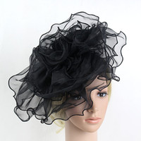Femmes Mutli-couche Flower Mesh Net Fascinator Bride Chapeau de mariage Noir Rose Blanc Elegant Hair Band Fascinator Hairbands Headwear 2017