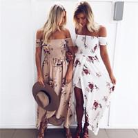 Wholesale Strapless Boho Maxi Dress - 2017 Women Summer Boho Dress Maxi Long Dresses Off the Shoulder Strapless Floral Printed Woman Beach Casual Dress Robe Femme