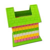 Unisex block housing - Manual Creative Blocks Assembly Pen Holder DIY Puzzle Toy Small House For Children Study Education Toys Gifts