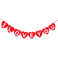 Wholesale-I LOVE YOU cuore rosa a forma di appendente Bandiera Bandiera Garlands Romantico Festa di compleanno Festa di nozze Photo Booth Props Decorazione