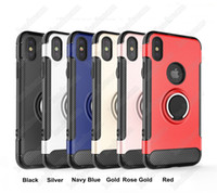 Wholesale Iphone Cover Stock - Ring Holder Magnetic Car Holder Shockproof Armor Case Cover for iPhone X 8 7 Plus Samsung Galaxy Note 8 iN Stock Free DHL