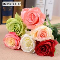 suni tekli ipek çiçekler toptan satış-Yapay-Güller Sahte İpek Tek Güller Çok Center for Wedding Centerpieces Ev Partisi Dekoratif Çiçek A0744