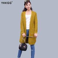 Wholesale Female Formula - Wholesale- 2016 Brand New Loose Knit Cardigan Female Formula V-neck No Button Jacket Pocket Solid Color Sweater Female