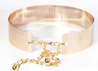 Wholesale Decorative Chain Metal Belt - Hot Buy All Metal Chains Glossy Gold Belt Double Button Iron Sheet Women's Decorative Girdle