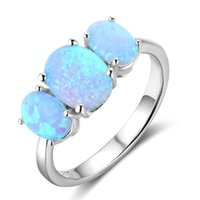 Jóias de moda Blue Fire Opal Rings Sterling Silver Class Rings Wedding Engagement Rings for Women