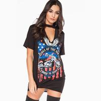 Wholesale T Shirt Eagle Women - Woman Short Sleeve T Shirt 2017 Summer Woman New Fashion Black Casual Loose Eagle Motorcycle Printing Hollow Halter Neck Sexy T-shirt Dress