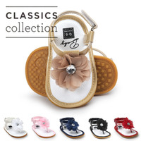 Wholesale Cute Sandals For Summer - 6 colors Baby Girls flower thong sandal zoris pu soft sole toe-knob sandals infants summer cute fashion moccasins first walkers for 0-2T