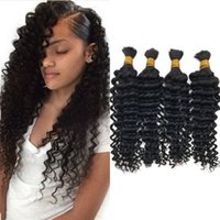 Malasia Deep Wave Human Bracing Hair Bulk 4 pcs Natural Color Bulk Hair for Braiding Frete grátis FDSHINE